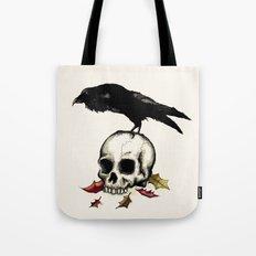 Raven Skull Poe Gothic Crow Tote Bag