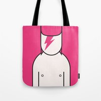 david bowie Tote Bags featuring Bowie by Ale Giorgini
