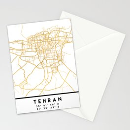 TEHRAN IRAN CITY STREET MAP ART Stationery Cards