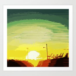 Sunset Over The Shipyard Pixelart Art Print