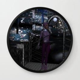 Alien City at Night Wall Clock