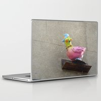 hip hop Laptop & iPad Skins featuring hip-hop pigeon by Michelle Loidl