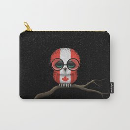 Baby Owl with Glasses and Canadian Flag Carry-All Pouch