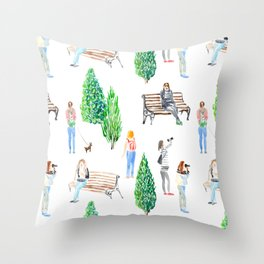 girls in the park pattern Throw Pillow