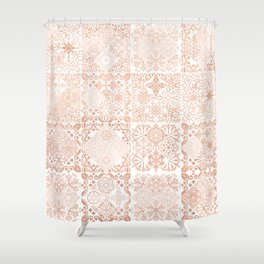 MOROCCAN TILES ROSEGOLD Shower Curtain