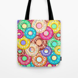 Donuts Punchy Pastel flavours Pattern Tote Bag