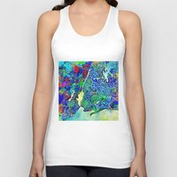 new york map Tank Tops featuring new york new york map by Bekim ART