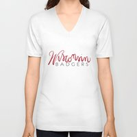 wisconsin V-neck T-shirts featuring Wisconsin Badgers  by Niki Addie Creative Design Co.