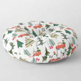 Christmas Tree / Truck / Vintage / Retro / Fir / Spruce / Winter Wonderland / Pine Tree Floor Pillow