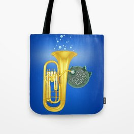 Puffer Fish Playing Tuba Tote Bag