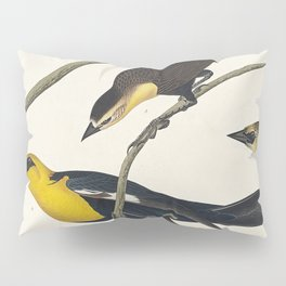 Nuttalls Starling Yellow-headed Troopial and Bullocks Oriole from Birds of America (1827) by John Ja Pillow Sham