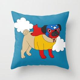 Lucha Libre Pug Throw Pillow