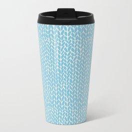 Hand Knit Sky Blue Metal Travel Mug
