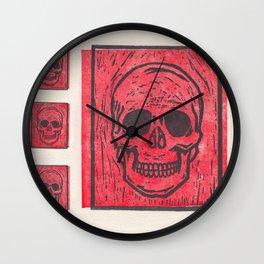 Four Red Skulls Offset Wall Clock