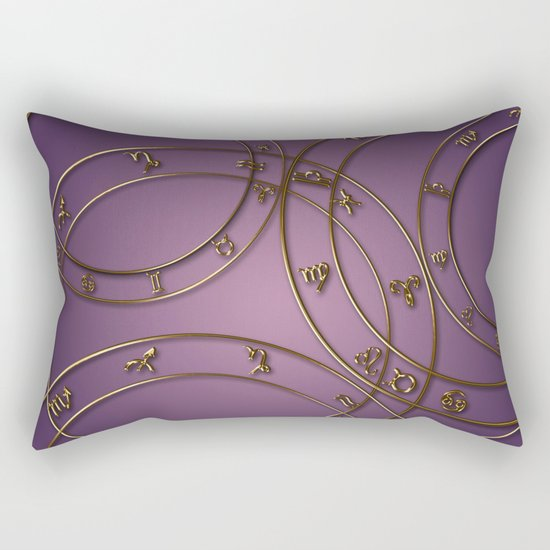 Zodiac signs and circles pink Rectangular Pillow