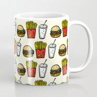 junk food Mugs featuring Junk Food Pattern by mebz art