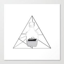 Graphic . geometric shape black ship in a bottle 2 Canvas Print