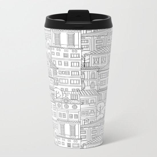 Doodle town pattern Metal Travel Mug