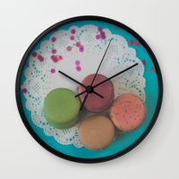 macarons Wall Clocks featuring Macarons by Jessica Torres Photography
