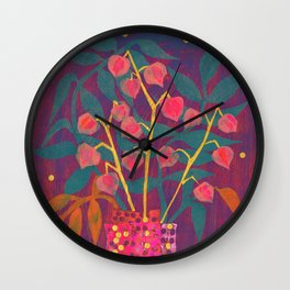 Chinese Lanterns in Neon Colors, Physalis, Abstract Botanical Bold Floral Wall Clock