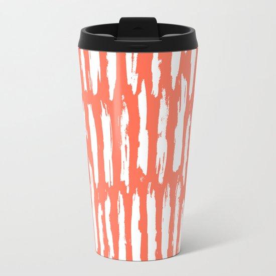 Vertical Dash White on Deep Coral Metal Travel Mug
