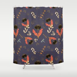 Gold And Black Poppies On Deep Purple by SalsySafrano. Shower Curtain