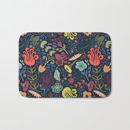Navy Vintage Floral // Hand Drawn Funky Flowers, Bright & Cheery Bath Mat