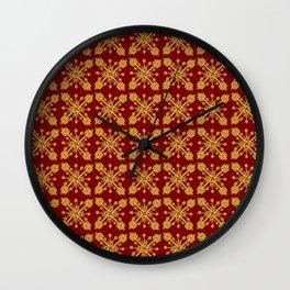 Golden Key Pattern Wall Clock