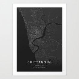 Chittagong, Bangladesh - Dark Map Art Print