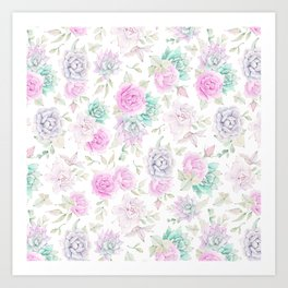 Pastel pink turquoise watercolor hand painted cactus floral Art Print