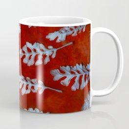 White leaves on red Coffee Mug