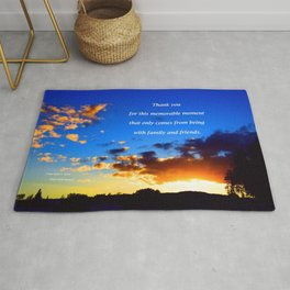 """Sunset Clouds #117"""" with poem: Memorable Moments Rug"