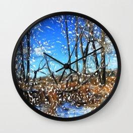 First Snow Fall in Fish Creek 03 Wall Clock