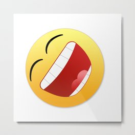 Happy state of mind emoticon laughing with mouth wide open Metal Print
