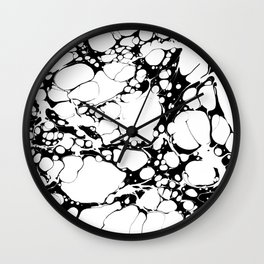 Black and White bubbles Spilled Ink Marbled Paper Wall Clock