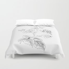 black-and-white arrangement of flowers and leaves Duvet Cover
