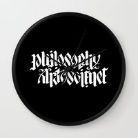 philosophy Wall Clocks featuring Philosophy, Art & Science by John Langdon