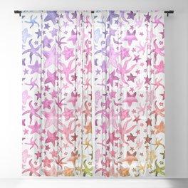Rainbow Starfish Pattern Sheer Curtain