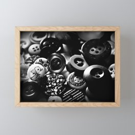 Buttons in Black and White Framed Mini Art Print