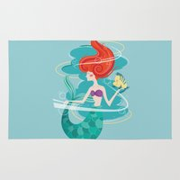 the little mermaid Area & Throw Rugs featuring Little Mermaid by LindseyCowley