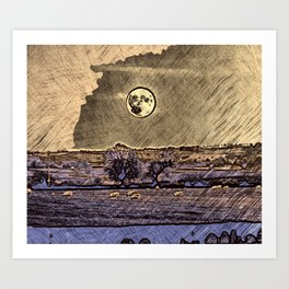 Moon over Debdale Art Print