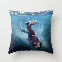 underwater Throw Pillows featuring Underwater by MGNemesi