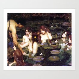 HYLAS AND THE NYMPHS - WATERHOUSE Art Print