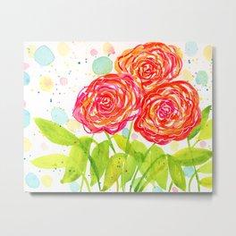 Painterly Peonies II - Watercolor Floral Print  Metal Print