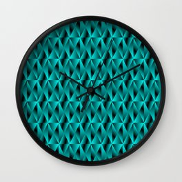 Mystical iridescent light blue rhombs and black triangles with square volume. Wall Clock