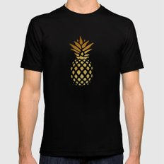 Golden Pineapple Black Mens Fitted Tee LARGE