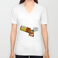 pills V-neck T-shirts featuring Sugar Pills by Beastie Toyz