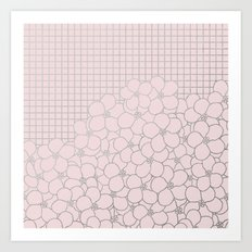 Forget Me Knot Pink Grid Art Print