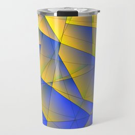 Bright fragments of crystals on irregularly shaped yellow and blue triangles. Travel Mug