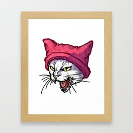 The Cat in the Hat (White) Framed Art Print